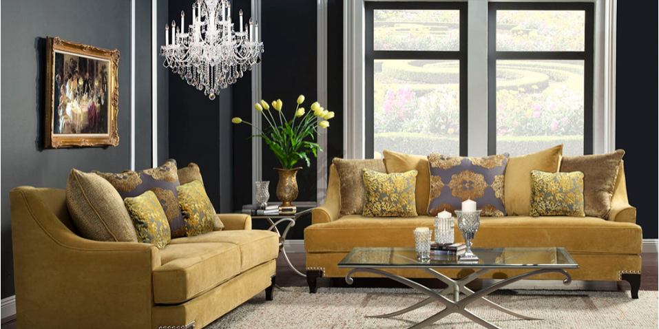 Yellow Sofa Living Room - Olympia West Jordan